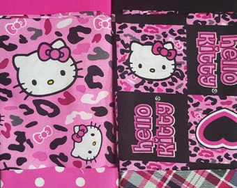 Fat Quarter Bundle, Hello Kitty Fabric, Pink Floral Fabric, Hot Pink Fabric, Pink Polka Dot Fabric, 6 FQ's
