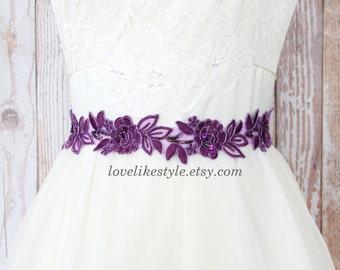 Purple  Embroidery Flower Lace Sash , Bridal Sash, Bridesmaid Sash, Flower Girl Sash, Purple Headband SH-34
