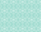 Rustic Star Geometric Wrapping Paper Seafoam Blue One Roll Made to Order | Ships from USA