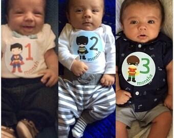 Baby Month Sticker Monthly Stickers Baby Stickers Baby Milestone Sticker Photo Prop Baby Shower 12 Month Stickers Baby Boy B271
