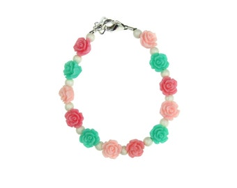 Mint, Pink & Rose Flowers with White Pearls Bracelet (BFMPR)