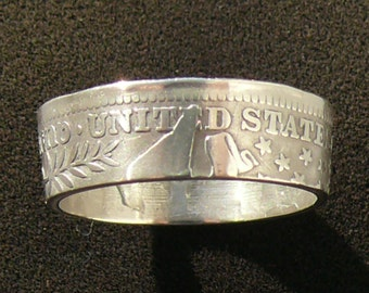 Silver Coin Ring 1901 USA Quarter, Ring Size 7 1/2 and Double Sided