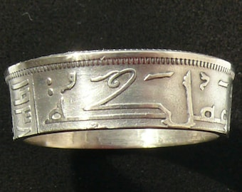Silver Coin Ring 1938 Iraq 1 Dirham, Ring Size 10 and Double Sided