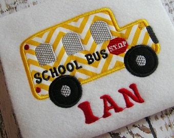 Appliqué school bus machine embroidery design, embroidery school bus, school teacher, back to school, appliqué bus design, school bus