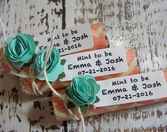 Coral Mint to be mints, wedding favors, coral chevron with mint green flowers, wedding shower favor, bridal shower favor, Set of 35 mint