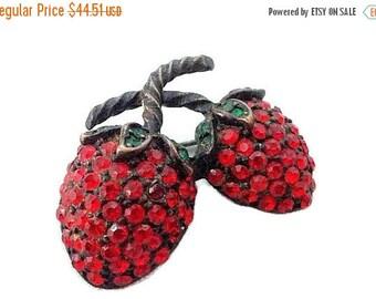 Designer Strawberry Brooch Pin Signed WEISS Red Rhinestone Forbidden Fruit 1 3/4 in Vintage