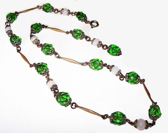 "Czech Green Bead Necklace Art Glass Stones & White Moonstones Silver Metal 19"" Art Deco Vintage"