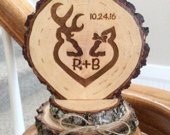 Rustic Deer Wedding Cake Topper, Engraved Wedding Cake Topper, Custom Topper, Buck Doe Topper, Barn Wedding, Country Wedding