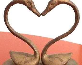 Brass Swans Heart Candleholder