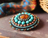 Turquoise Copper Brooch Amber Brooch Embroidery Brooch Cabochon Brooch Beadwork Ethnic Boho Brooch Colorful Jewelry Gift idea MADE TO ORDER