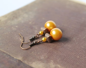 Yellow Beads Earrings Glass Earrings Yellow Dangle Earrings Honey yellow Earrings Yellow Copper Jewelry Gift for her