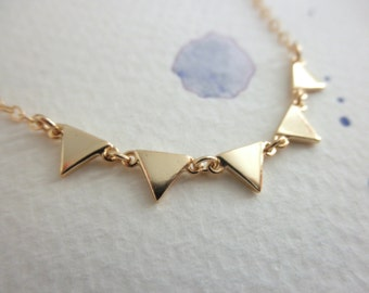 gold triangle necklace - 14K gold-filled chain  - multi gold triangle necklace - chain necklace - teeny tiny triangle - dainty jewelry