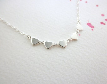 Silver heart necklace - multi silver heart  -  tiny heart necklace - 925 solid sterling silver  - teeny tiny heart - dainty jewelry