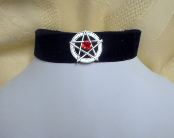 Black Velvet  pentagram gothic choker red rose goth vampire wiccan mystic pagan necklace womens jewelry clothing accessory mystic magic