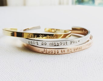 Personalized Cuff Bracelet, Custom Cuff Bracelet, Inspirational Cuff Bracelet,Inspirational Bangle, Personalized Gift, Hand Stamped Bracelet