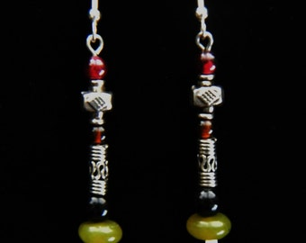 Garnet, Agate, and Jade Sterling Silver Earrings