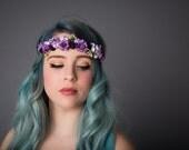 Handmade Bohemian Crown Headband, Flower GIrl Headband, Boho Chic Headband, Vintage Floral Headband, Kid's Photography - Purple