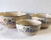 3 Vintage Enamelware Nesting Bowls Homestead International 1980s Pyrex Farm House