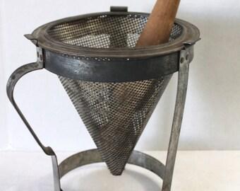 Vintage Aluminum Colander Ricer Masher Sieve with Wooden Pestle