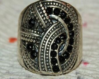 DECO GARNET RING Sterling c1939