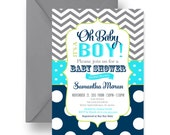 Oh Baby Boy Shower Invitations Navy, Lime & Grey Chevron, Fun Boys Baby Shower, Classic Coed, Retro Sprinkle Printable or Printed, (POPNAV)