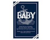 Nautical Bring a Book Cards Boys Baby Shower Invite Insert, Printed Card Navy, Download Baby Insert, Boys Book Request, Books for Baby (NAU)
