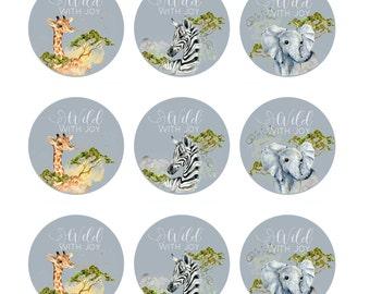 Safari Baby Shower Cupcake Topper Instant Download Printable Jungle Party Decor Elephant Giraffe Zebra Birthday Picks Baby Boys (SAFARICUP)