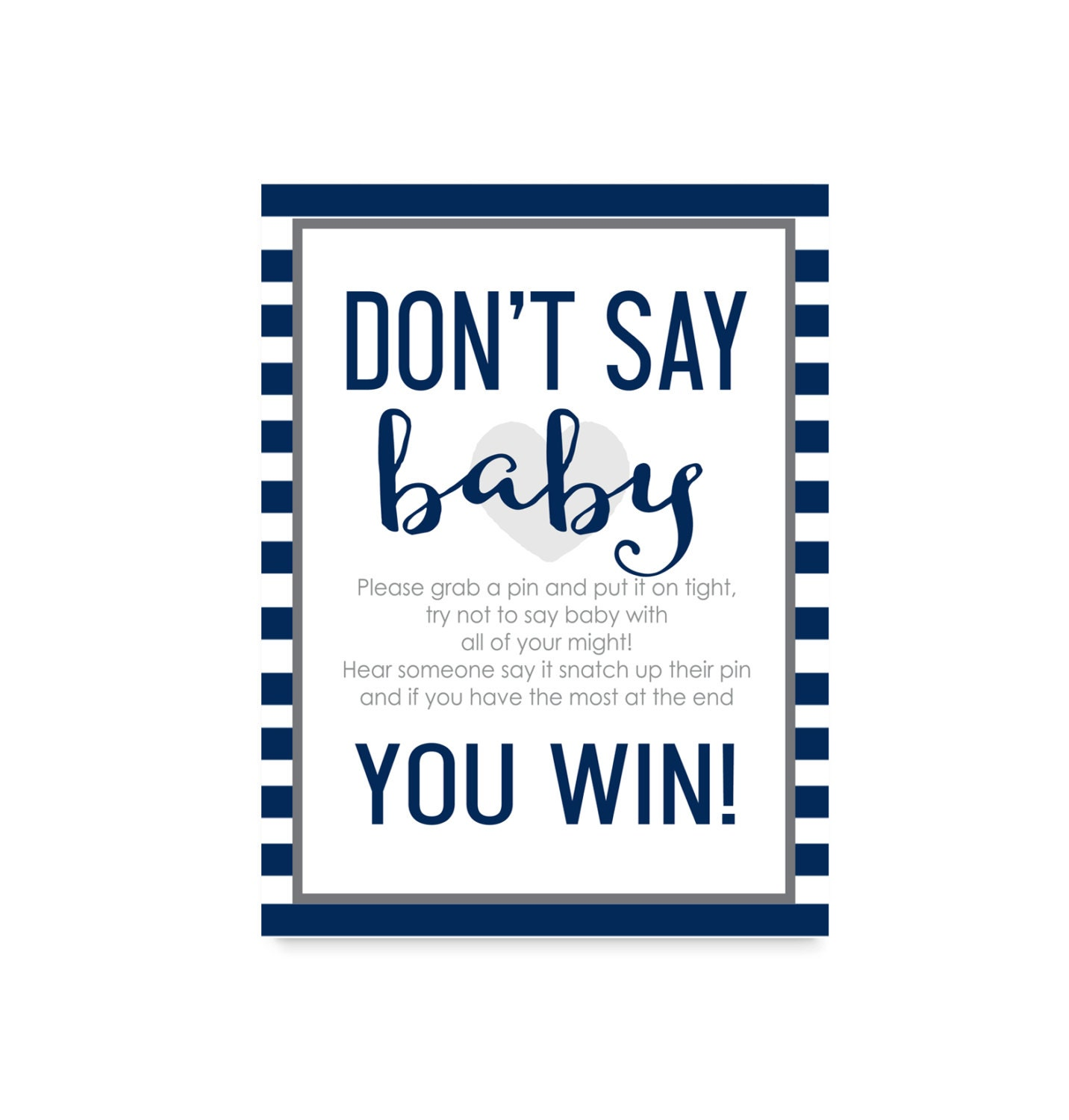 It is a photo of Lucrative Don't Say Baby Printable