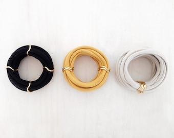 bangles, bracelets, gold bangles, gold bracelets, textile jewellery - Set of 3 loop bracelets - black, mustard and ivory