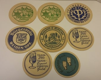 Vintage German Beer Coaster Lot #3 - Rare and out of print - 8 Coasters for one price