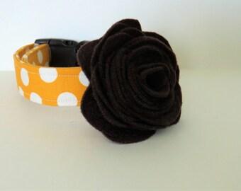 Floral dog collar accessory, Brown felt flower, dog collar accessory,dog flower , wedding flower accessory, felt rose accessory