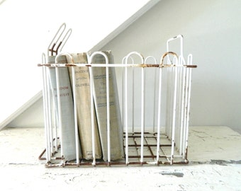 Vintage White Wire Metal Basket Shabby Chic