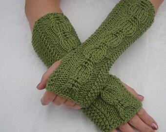 Fingerless Gloves Mittens.Sale.Green Long Knit Cable Wool Wrist Warmers. Fingerless Gloves.Mittens.Long.Soft.Fall Winter Women Girls.