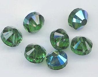 Wow - 12 vintage Swarovski crystal beads: Art. 5101 - 7 mm - green turmaline AB