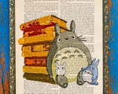 Totoro in the Library Ghibli Book Lover Original Print on an Unframed Upcycled Bookpage