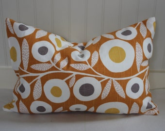 Orange, Grey, Gold and Ivory Ikat Pillow Covers / in Designer Fabric