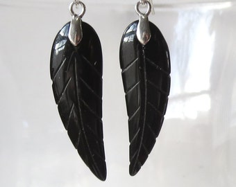 Onyx Leaf Earrings with Sterling Silver Earwires