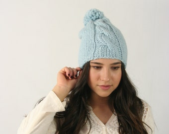 Slouchy Beanie Hat Chunky Knitted Winter Hat With Single Cable Braid and Pom Pom THE THUNDERHEAD Slightly Slouchy Glacier