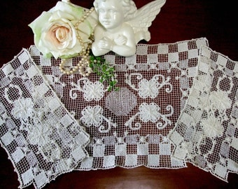 Vintage Antimacassar, Filet Lace Lacis,Filet Brode,Point Conte, Chair Back Doilies, Arm Chair Doily, Vintage Linens by TheSweetBasilShoppe