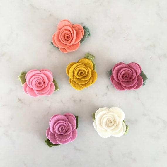 Felt Flower Hair Clip - Pick Your Colors - Wool Felt Rose