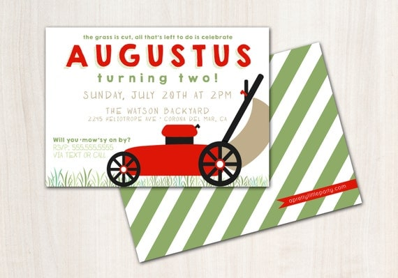 Lawn Mower Birthday Invite - Lawn Mower Invitation - Mower Party  - Party Supplies