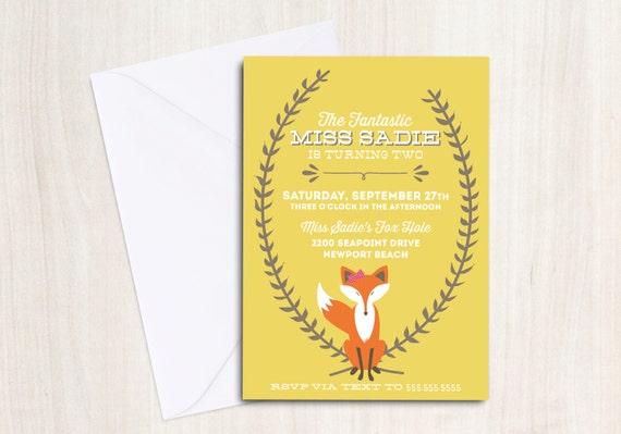 Autumn Fox Invitation - Fantastic Fox - Fox Invite - Custom Digital Printable Invite