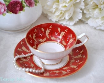 Gladstone Bright Red Scroll Pattern Teacup and Saucer, English Bone China Tea Cup Set, Garden Tea Party, ca. 1946-1961
