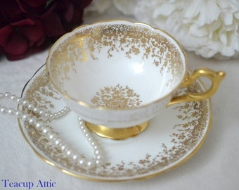 Coalport White and Gold Vintage Teacup and Saucer, Wedding Gift, English Bone China Tea Cup, c. 1940
