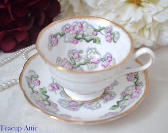 Royal Albert May Blossom Teacup And Saucer Set, English Bone China Tea Cup Set, Replacement China, Afternoon Tea, c. 1940