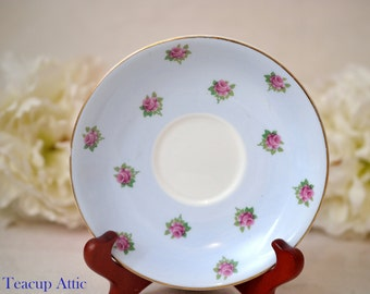 Royal Adderley Hand Painted Light Blue Replacement Saucer With Pink Roses, English Bone China Saucer, ca. 1950-1962