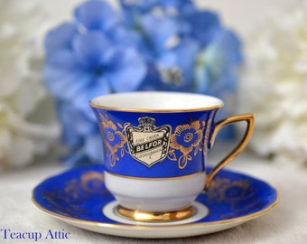 Belfor China Royal Blue  Demitasse and Saucer, Miniature Teacup Set, Child's Tea Party, ca. unknown