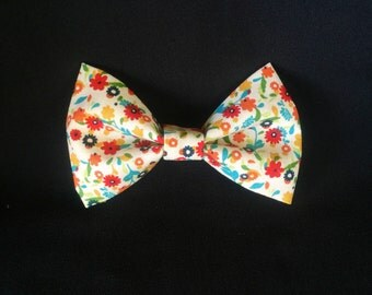 Floral Otomi Style Cotton Hair Bow