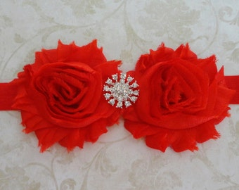 Red Shabby Flower Headband -  Red Headband - Baby Infant Headband - Rhinestone Headband - Girls Red Chiffon Headband - Hairbow