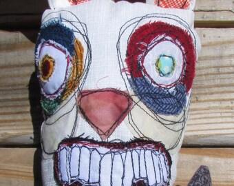 Basil, the white rabbit handmade art doll